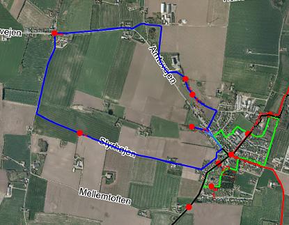 Blå rute-sat kort