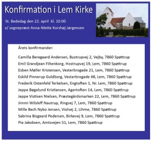 Konfirmation-konfirmander 2016